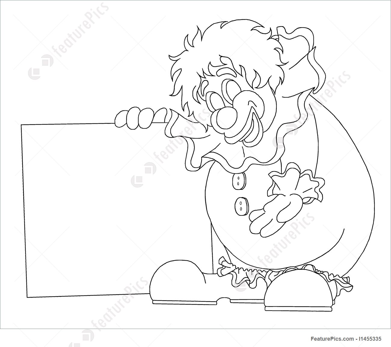 1300x1153 Illustration Of Line Drawing Of Clown With Sign, Ready For Custom Fill