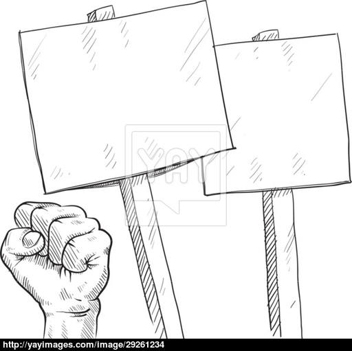 512x511 Protest Signs And Fists Sketch Vector
