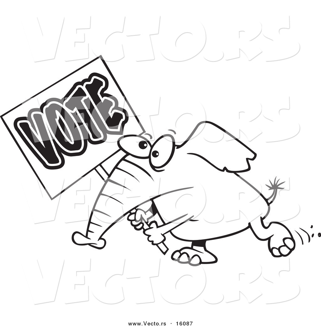 1024x1044 Vector Of A Cartoon Elephant Carrying A Vote Sign