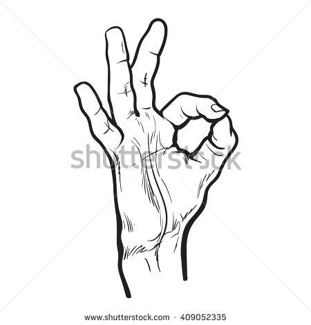 450x470 Hand Shows A Symbol That All Is Well. Male Hand Showing Ok