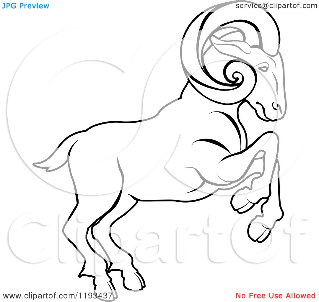 1080x1024 Clipart Of A Black And White Line Drawing Of The Aries Ram Zodiac