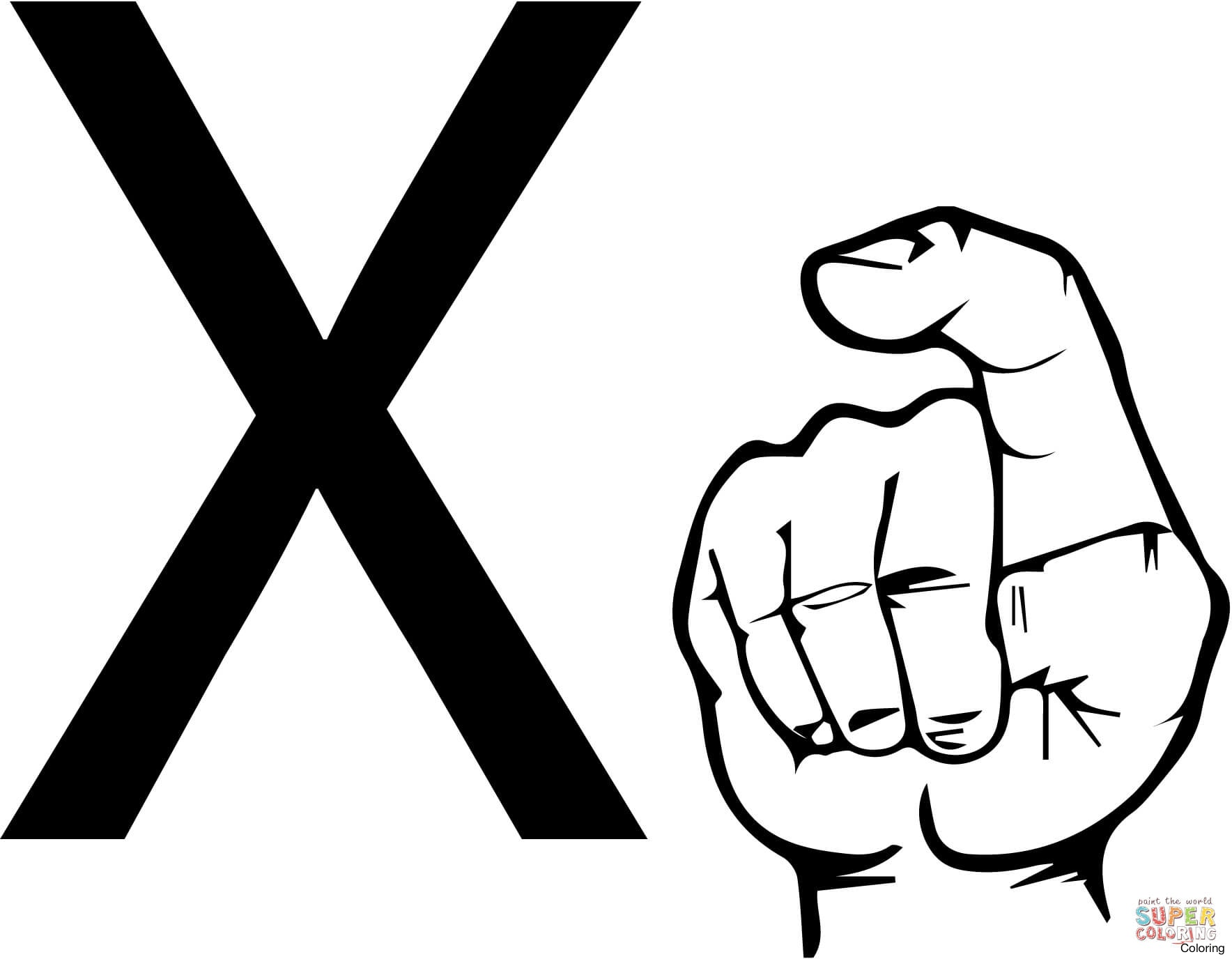 1768x1376 Asl Sign Language Letter X Coloring Page Free Click The 14f