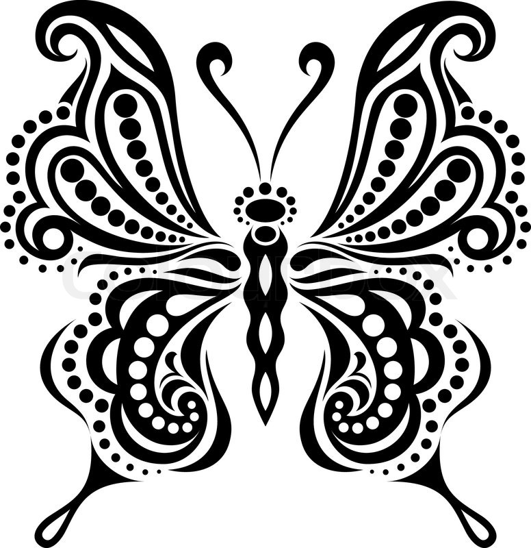 776x800 Delicate Butterfly Silhouette. Drawing Of Lines And Points