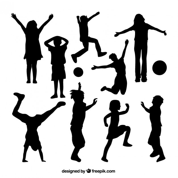 626x626 Silhouettes Of Kids Playing Vector Premium Download