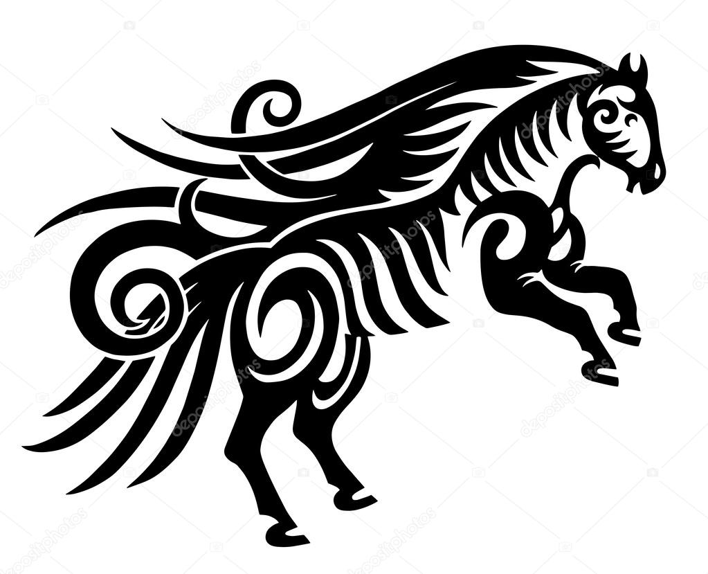 1023x829 Black Tribal Horse Silhouette Stock Vector Karakotsya