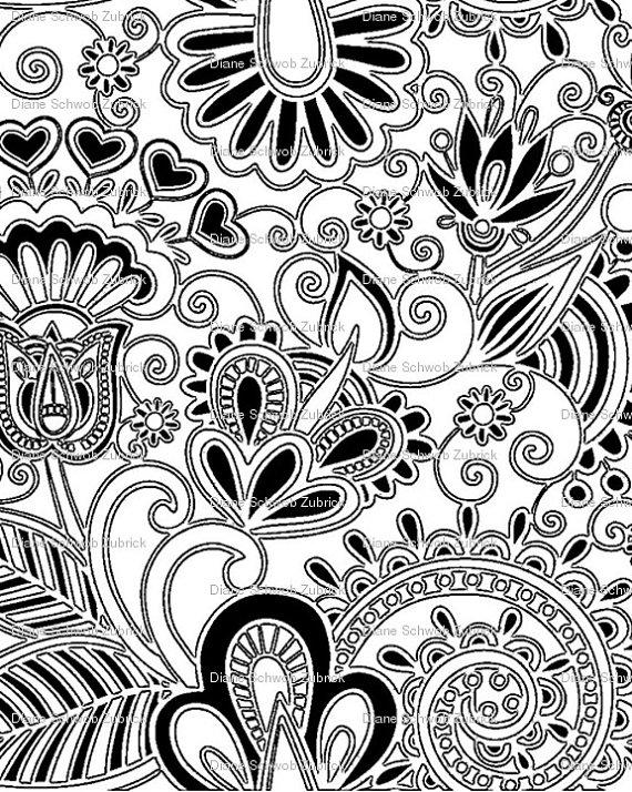 570x714 Thermofax Silk Screen Textile Flower Design By Applecreekdesigns