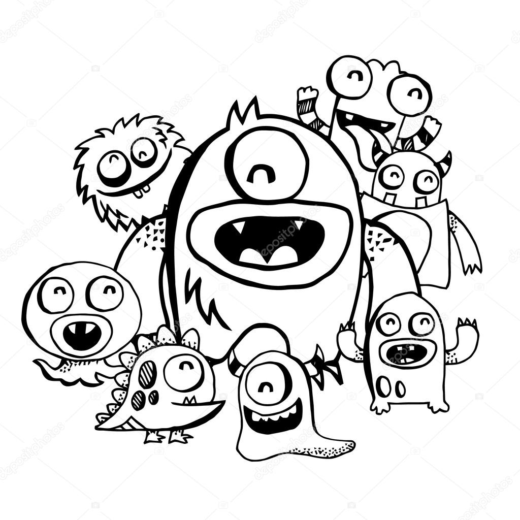 1024x1024 Happy Silly Cute Monsters Group Doodle Stock Vector