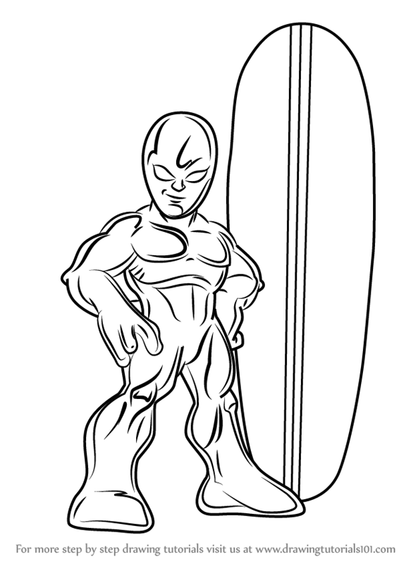 566x800 Learn How To Draw Silver Surfer From The Super Hero Squad Show