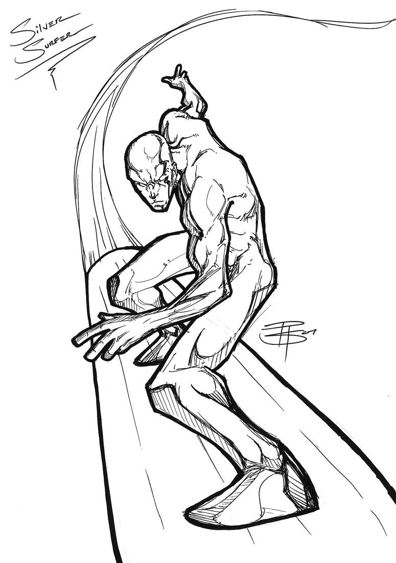 775x1100 Silver Surfer Gel Pen Drawing By Fooray