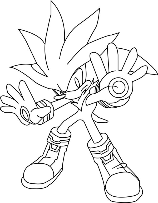 600x768 Silver The Hedgehog Lineart By Lineartdrawer