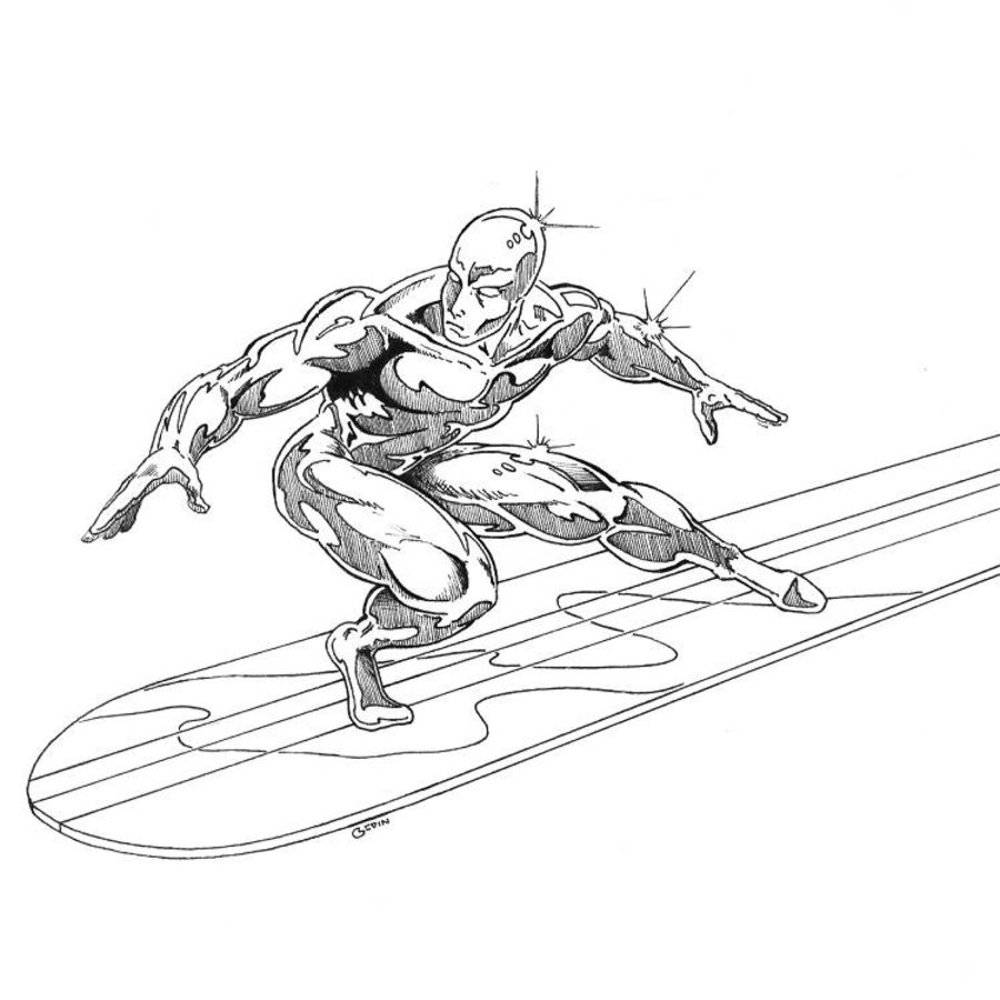 900x900 Coloring Pages Silver Surfer, Printable For Kids Amp Adults, Free