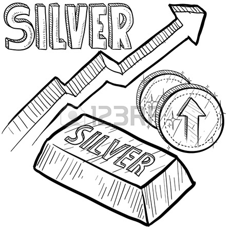 450x450 Doodle Style Silver Precious Metal Value Symbol With Up Arrow