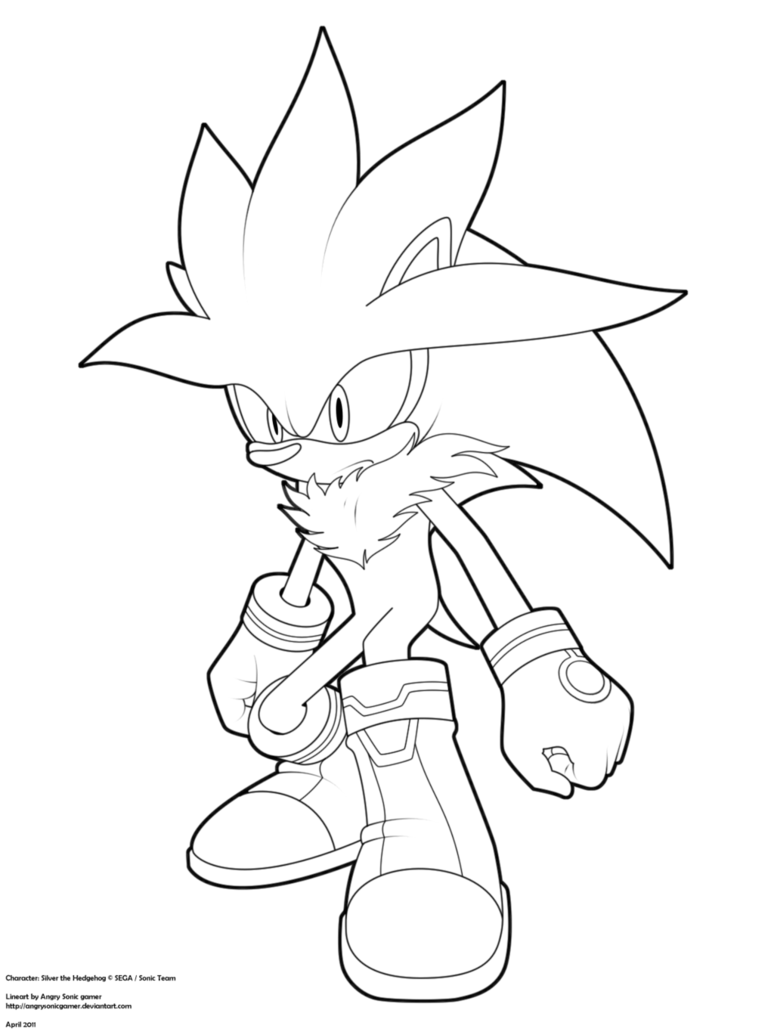 774x1032 Lineart Silver The Hedgehog By Angrysonicgamer