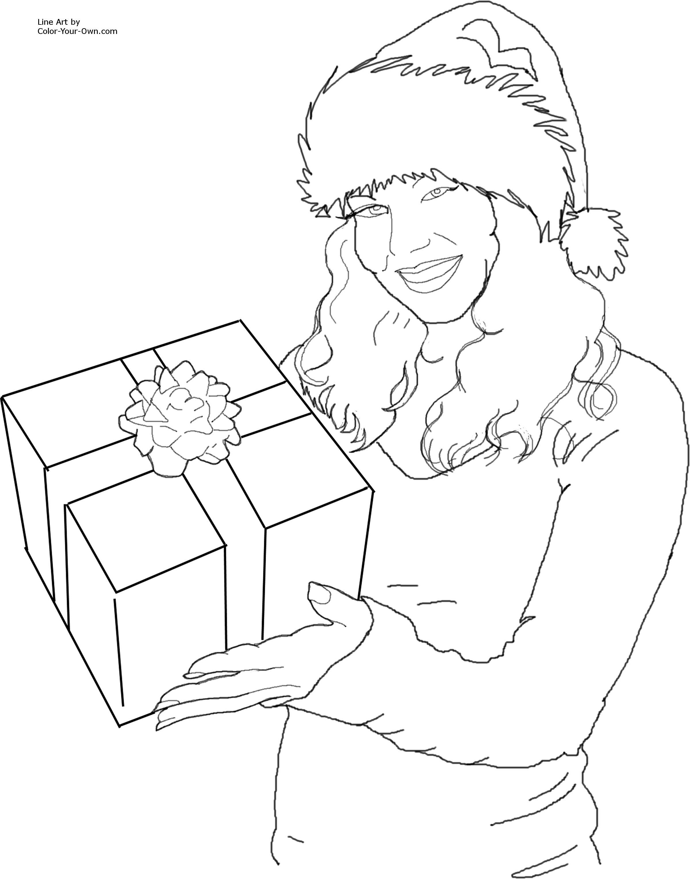 2400x3056 Christmas Santa's Helper With A Gift Coloring Page