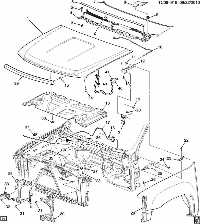 2008 Chevy Silverado Parts Diagram Hood
