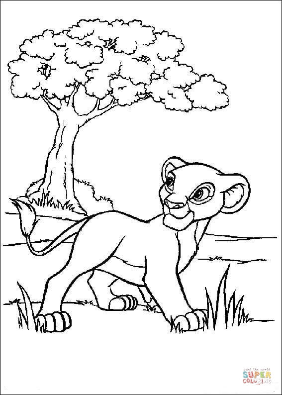 567x794 Lion And A Tree Coloring Page Free Printable Coloring Pages