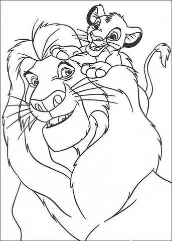 343x480 Simba And Mufasa Coloring Page Free Printable Coloring Pages