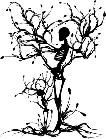 420x549 Skeleton Mother And Child Trees Beautiful Skulls
