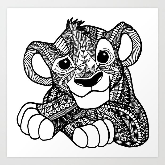 700x700 Zentangle Simba Art Print By Elfinelines Society6