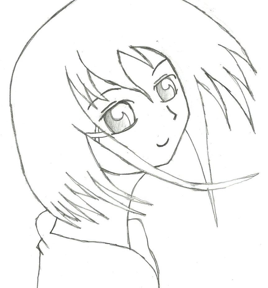 863x926 Simple Anime Girl Draw By Ramborocky