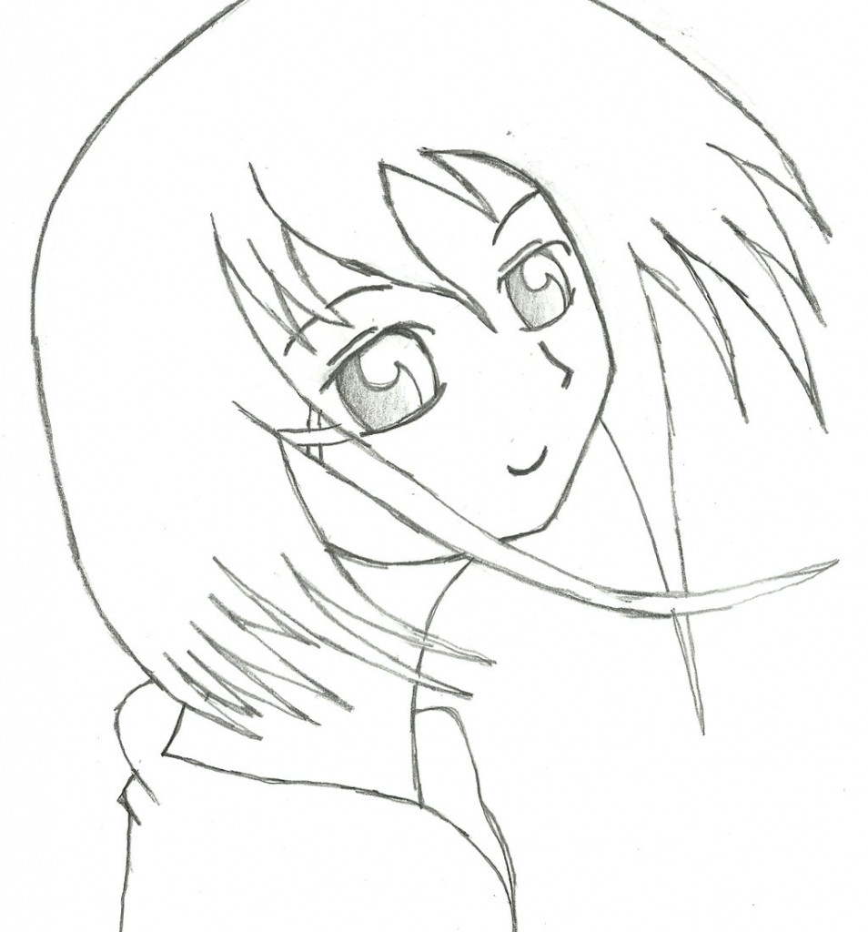 Simple Anime Girl Drawing at GetDrawings com | Free for