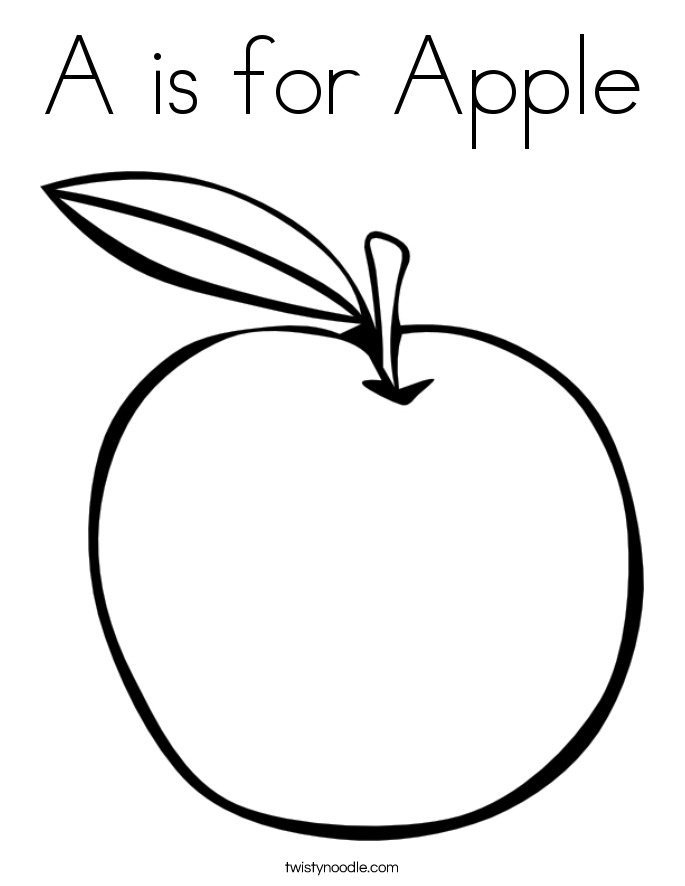 685x886 A Is For Apple Coloring Page