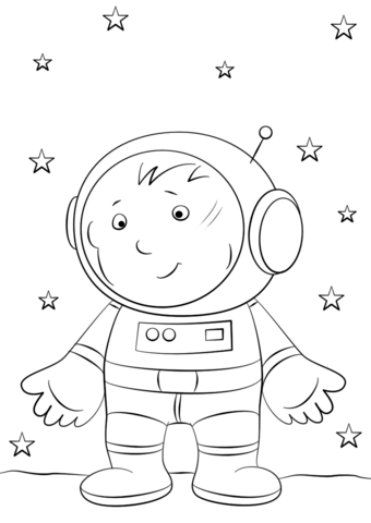 340x480 Boy Astronaut On The Moon Coloring Page Free Printable Coloring