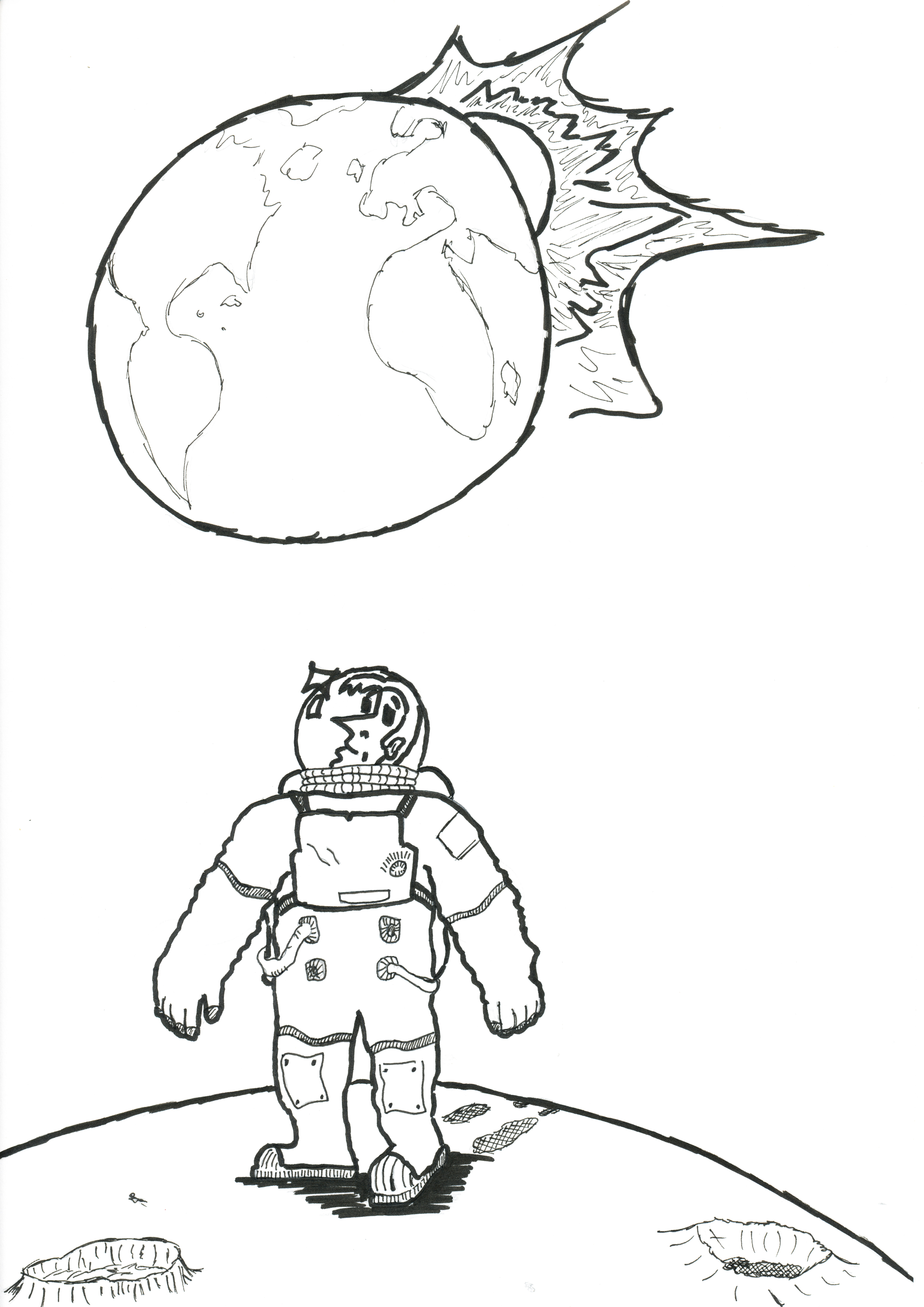 4960x7015 Gaining Perspective (Astronaut Drawing) [Rob]ots, Puppies