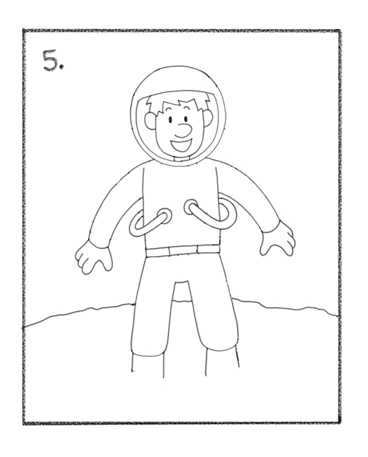 736x915 How To Draw An Astronaut