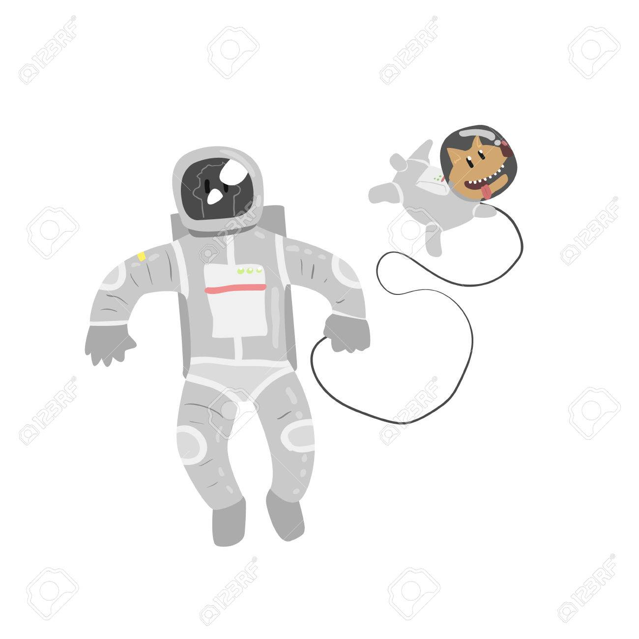 1300x1300 Astronaut In Space With Dog Flat Isolated Vector Simple Drawing