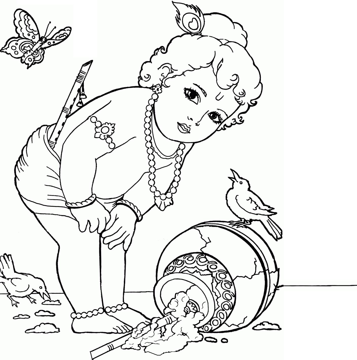 1409x1423 Cute Baby Krishna Sketch Baby Krishna God Pencil Arts Images