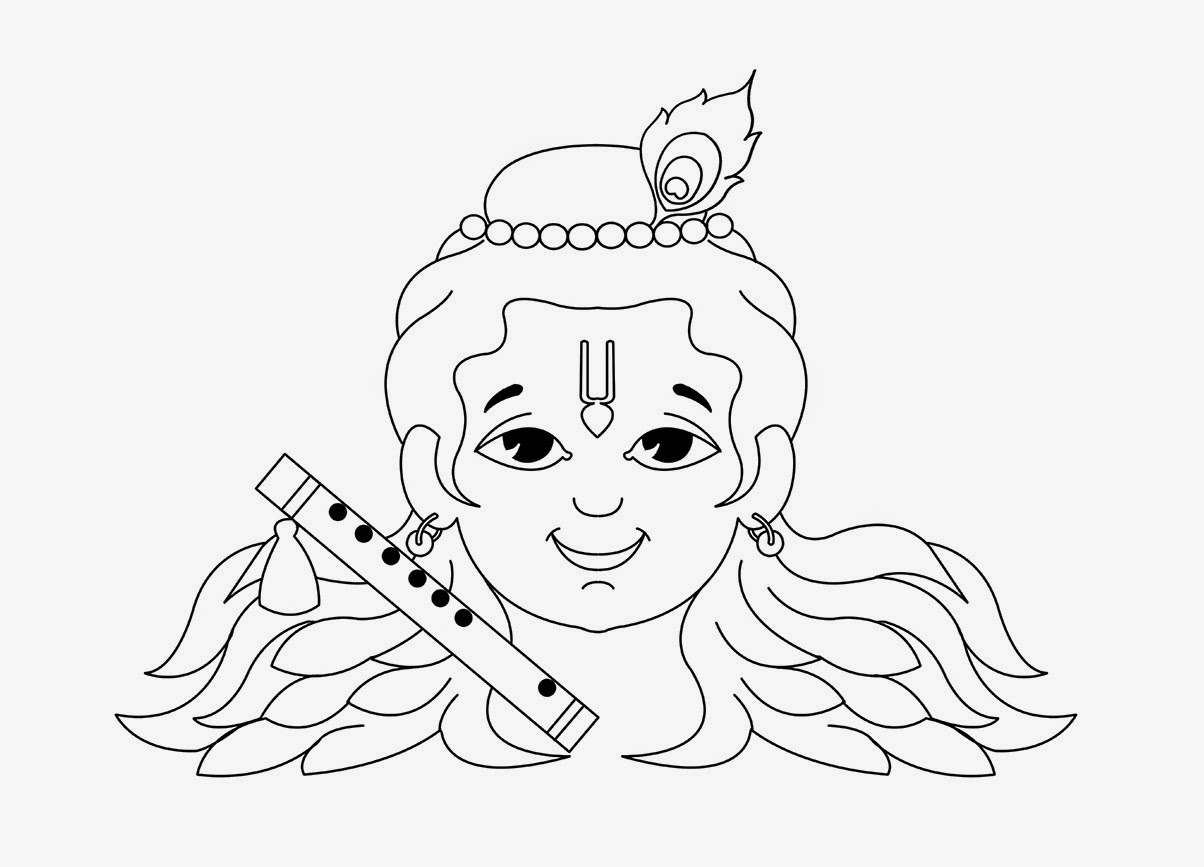 1204x867 Krishna Simple Drawing Baby Krishna Face Drawing