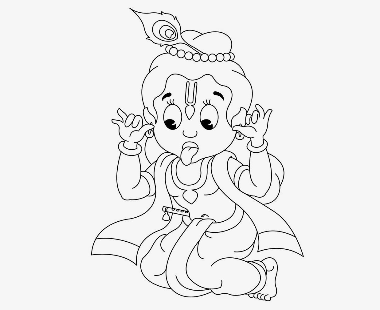 1237x1007 Simple Little Krishna Face Drawing Krishna Simple Drawing Baby