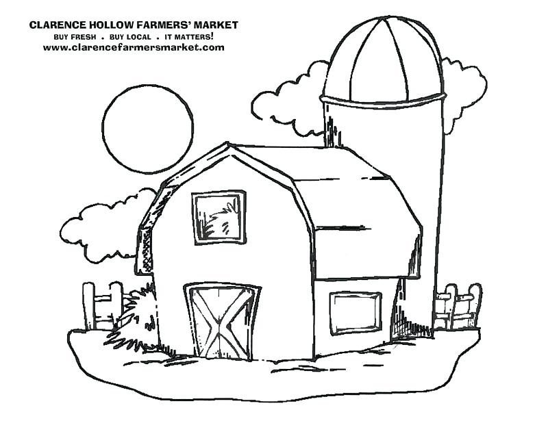 800x618 Simple Barn Coloring Pages Print