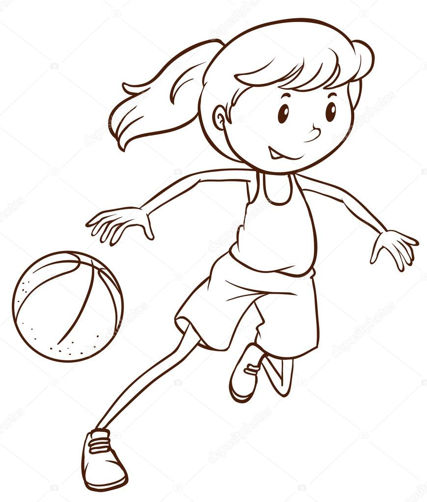 870x1024 A Simple Sketch Of A Female Basketball Player Stock Vector