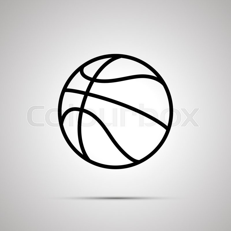 800x800 Basketball Ball Simple Black Icon With Shadow Stock Photo