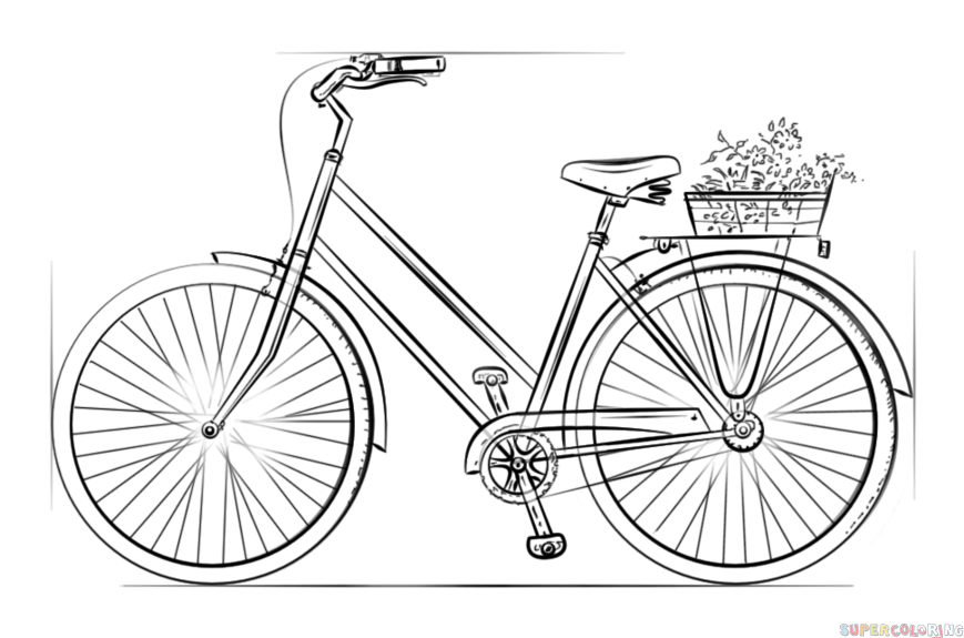 869x575 How To Draw A Bicycle Step By Step Drawing Tutorials