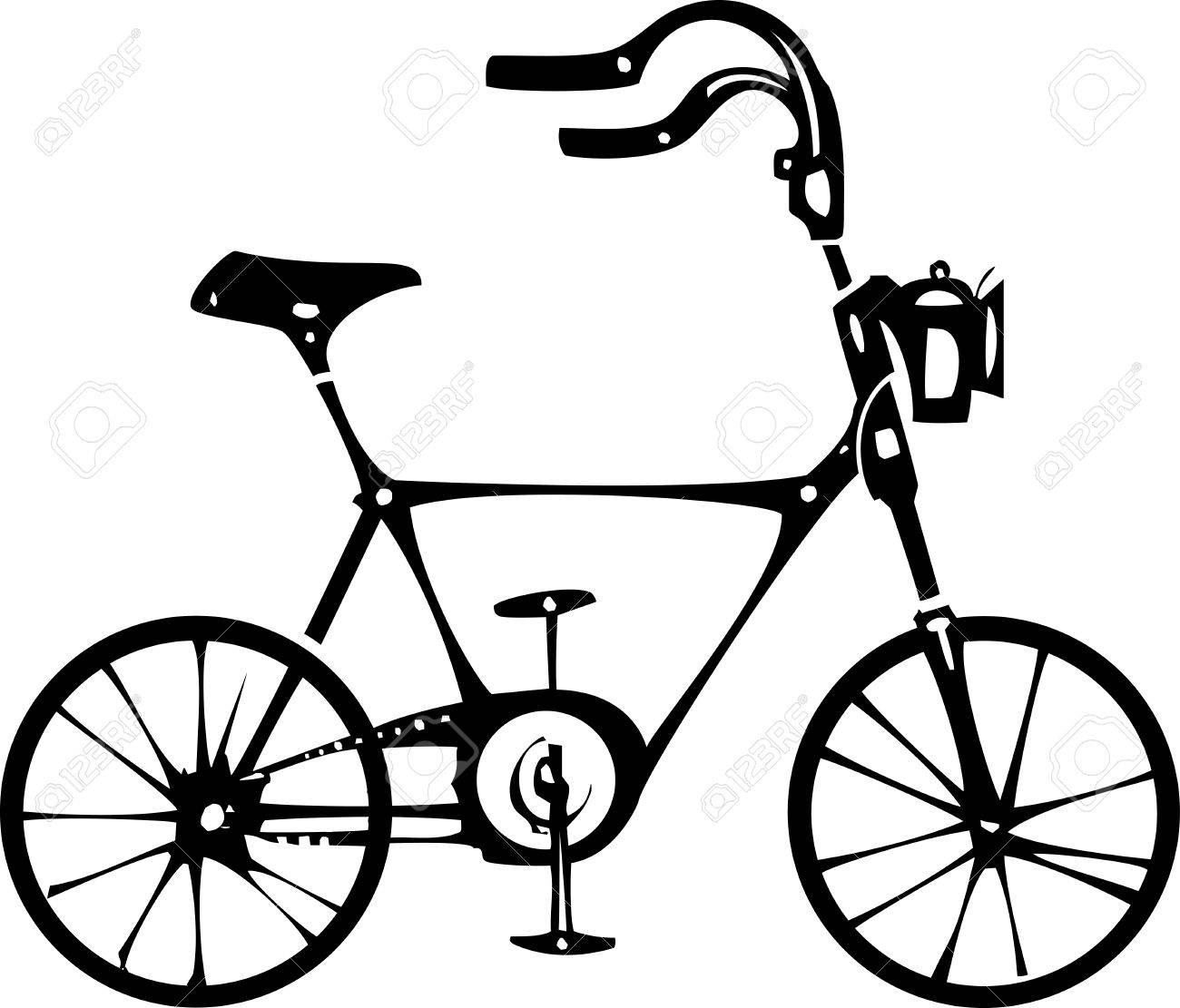 1300x1111 Simple Black And White Vintage Style Two Wheeled Bicycle Royalty