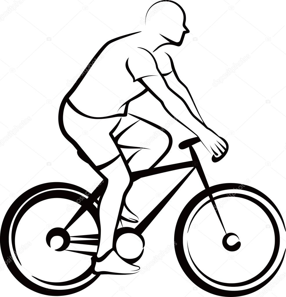 987x1024 Simple Drawing Of A Bike Simple Illustration With A Bicycler