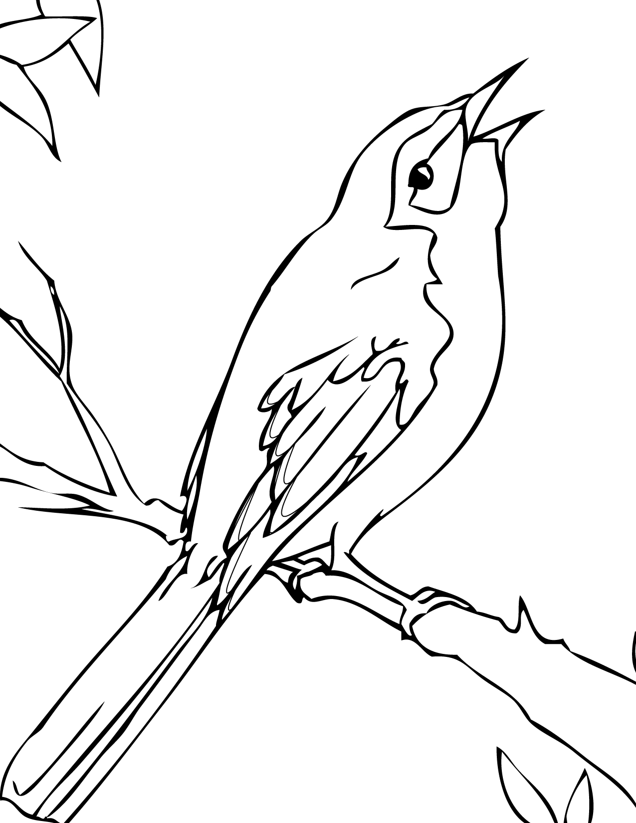 1275x1650 Simple Bear Paw Coloring Mockingbird Drawing Page Handipoints