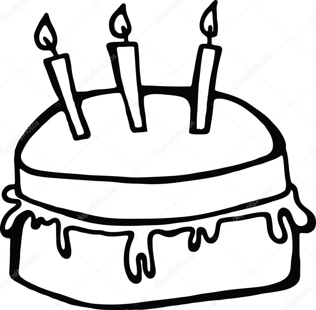 1024x1003 Birthday Cake With Candles Stock Vector Prawny