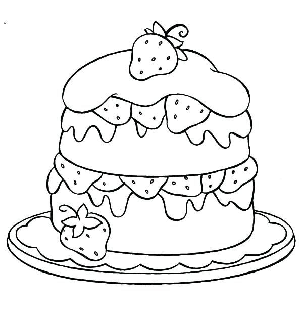 600x627 Cake Coloring Picture Cake Coloring Page Cupcake Coloring Pictures