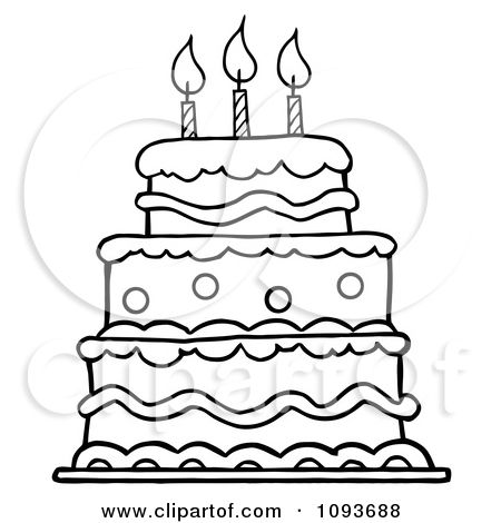 450x470 Clipart Outlined Layered Birthday Cake With Three Candles