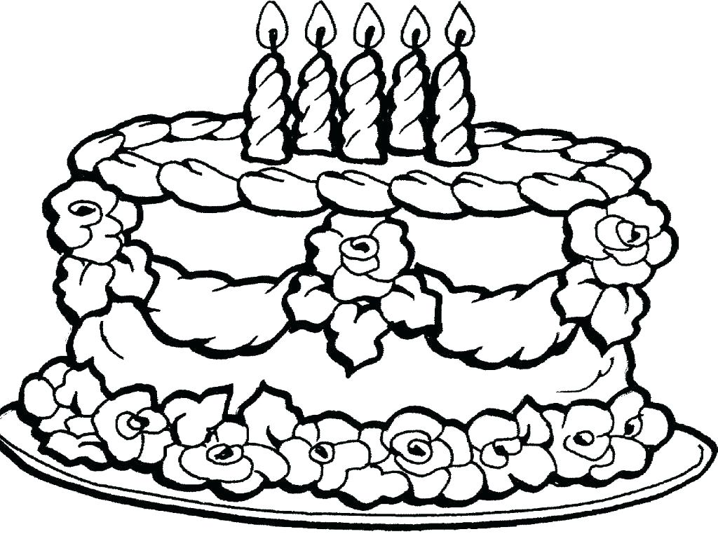 1024x762 A Little Girl With Happy Birthday Cake Coloring Page Color Pages