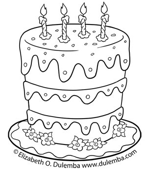 300x349 Shining Design Birthday Cake Coloring Pages