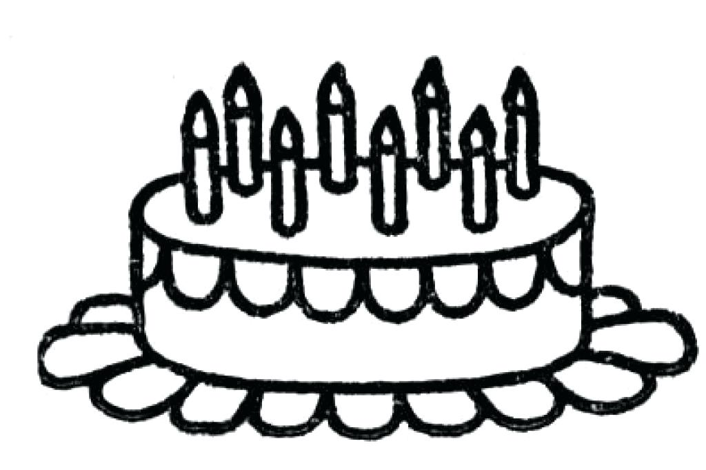 1024x682 Simple Birthday Cake Coloring Pages Printable Of With Candles