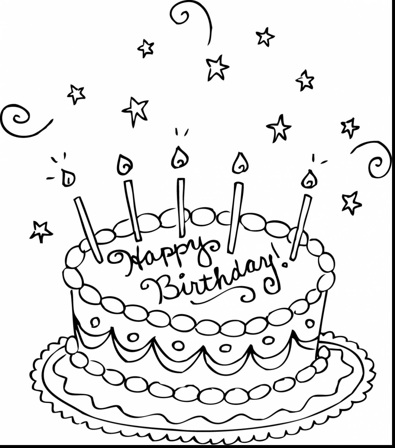 1333x1512 Small Birthday Cake Coloring Page Free Draw To Color