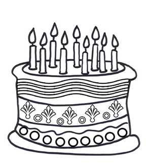 290x327 birthday cake colouring page online birthday cake kids activity - Coloring Page Cake
