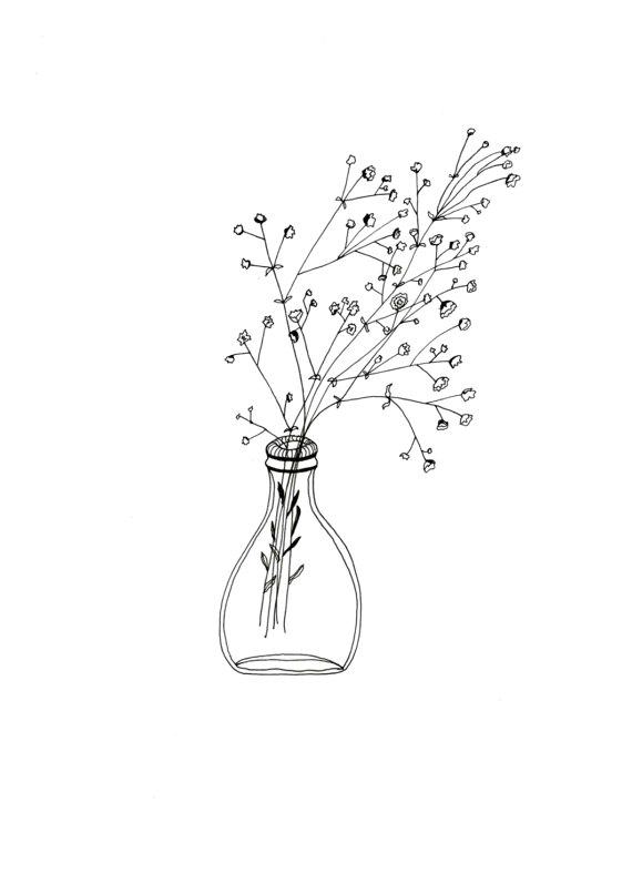 570x806 White Flowers Simple Glass Vase Bottle Patterned Illustration
