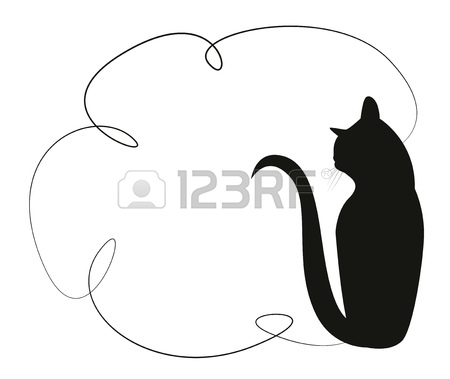 450x379 Simple Frame With A Black Cat. Silhouette Of A Cat Sitting